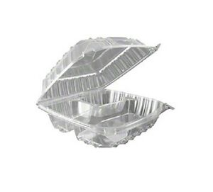 Dart C90pst3 8x8x3 inch Clearseal 3 compartment Clear Sandwich Ops Container Wi