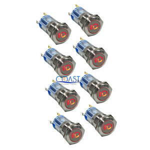 8x Durable Steel 12v 16mm Car Push Latching Button Red Fog Light Led Switch
