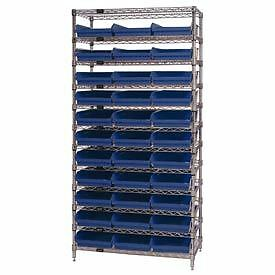 Chrome Wire Shelving With 33 4 h Plastic Shelf Bins Blue 36x18x74