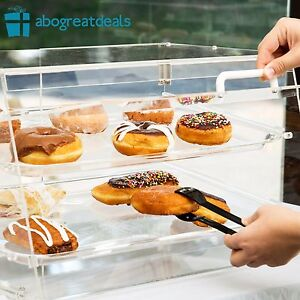 Bakery Clear Display Case 2 Tray Countertop Magnetic Rear Door Donut Pastry