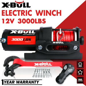 X bull 3000lbs 12v Electric Winch Atv Utv Boat Synthetic Rope Wireless Remotes