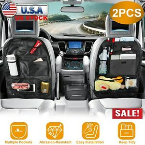 2 Car Back Seat Tidy Organizer Bag Travel Storage Bag Pocket Pouch Holder Black