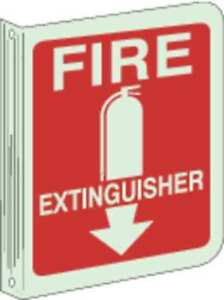 Fire Extinguisher Sign 12 X 9in wht r Brady 94044