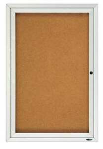 Enclosed Cork Bulletin Board 36 X 24 1 Door Quartet 2363