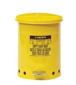 Oily Waste Can 10 Gal steel yellow Justrite 09301