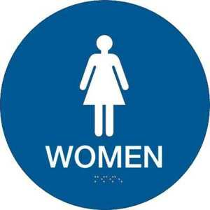Restroom Sign 12 X 12in white blue Brady 106180
