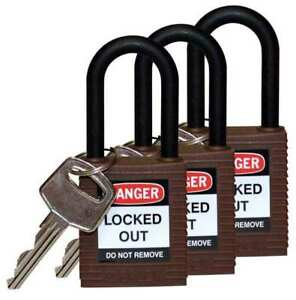 Lockout Padlock ka brown 1 3 4 h pk3 Brady 123339