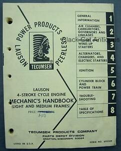 Orig Vintage Lauson 4 cycle Engine 202pg Mechanics Handbook Tecumseh Form 692509