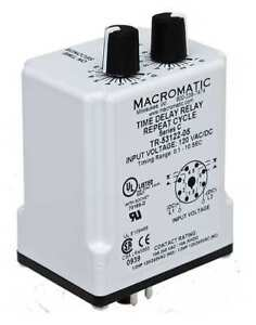 Time Delay Relay 12vdc 10a dpdt 3 Sec Macromatic Tr 55126 12