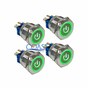 4x Durable Steel 12v 25mm Car Push Latching Button Green Power Led Switch