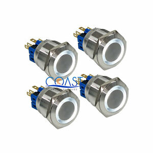 4x Durable Steel 12v 25mm Car Push Latching Button White Angel Eye Led Switch
