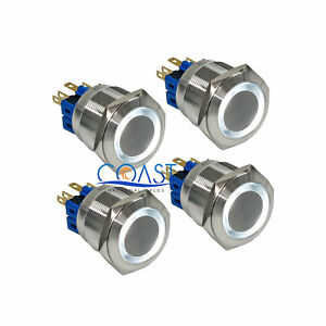 4x Durable 12v 25mm Car Push Button White Angel Eyes Momentary Metal Led Switch
