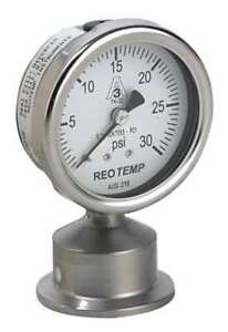 Pressure Gauge 0 To 30 Psi 2 1 2in 1 1 2 Reotemp Sg25atc15p16
