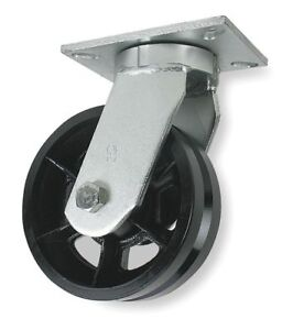 V groove Swivel Caster cast Iron 10 In 3000 Lb 1nwf1