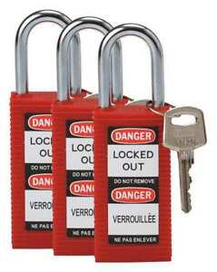 Lockout Padlock ka red 3 h pk3 Brady 123414
