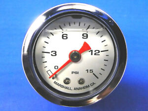 Marshall Gauge 0 15 Psi Fuel Pressure Oil Pressure White 1 5 Diameter Liquid