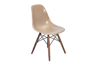 Eames Fiberglass Greige Shell Chairs On Walnut Dowel Base For Herman Miller