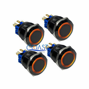 4x Durable 12v 25mm Car Push Button Amber Angel Eyes Momentary Metal Led Switch