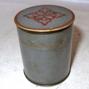 Small Signed Antique Chinese Pewter Bronze Teacaddy Round Box 2 6