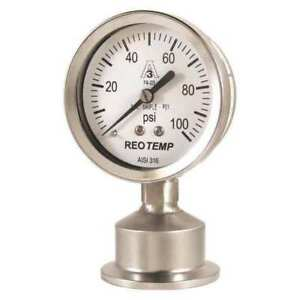 Pressure Gauge 0 To 100 Psi 2 1 2in Reotemp Sg25atc15p18