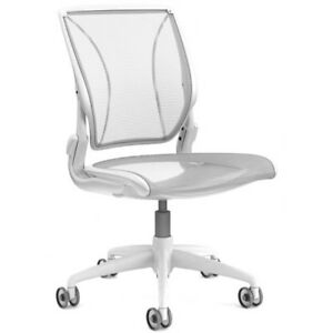 Humanscale Diffrient World Chair Armless Studio ready Chair White Mesh