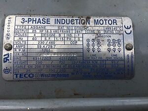 Dt0254 25hp 1800rpm 3ph Odp 284t Electric Motor