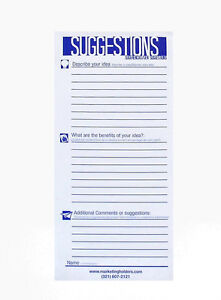 25 Suggestion Survey Box Cards Form 3 5 w X 8 5 h Improvement Cards 6 Pack