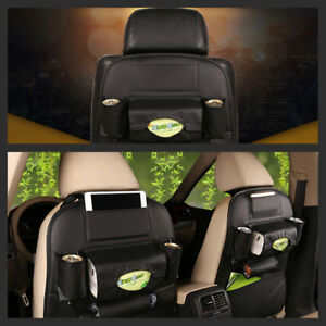 Car Seat Back Bag Organizer Storage Pu Leather Ipad Phone Holder Pocket Black Us
