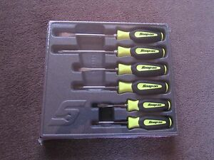 Snapon 6 Piece Instinct Soft Grip Combo Screwdriver Set Hi viz Yellow