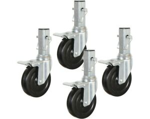 Locking Caster Wheel H d Hard Rubber Rolling Scaffold Multi use 4 pack Caster