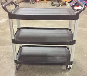 Rubbermaid Commercial 409100 Bla Xtra Service And Utility Cart 3 shelf Black
