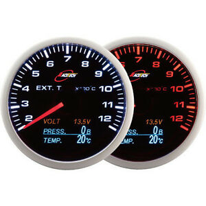 Racetech 60mm Smoked Egt Volt Oil Temp Oil Pressure Gauge White red Led 4 In 1