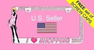 Pink Bling Glitter Crystal Rhinestone Metal License Plate Frame I Love Shopping