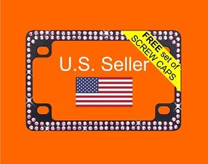 Pink Bling Glitter Crystal Rhinestone Black Metal Motorcycle License Plate Frame
