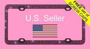 Black Metal License Plate Frame Triple Row Pink Bling Glitter Crystal Rhinestone