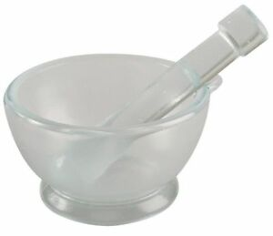 Mortar And Pestle Set glass 75mm Dia pk8 Lab Safety Supply 5ptg6