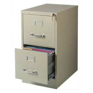 22 Deep Vertical Letter Size 2 Drawer File Cabinet Putty Hirsh 17889