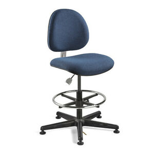 Bevco V850smg Navy Fabric Esd Chair Non tilt Glides 23 33 Seat Ht