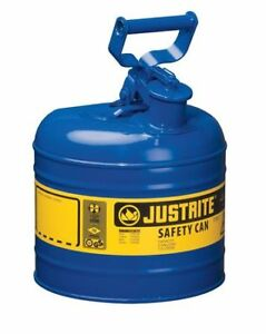 2 Gal Blue Galvanized Steel Type I Safety Can For Kerosene Justrite 7120300