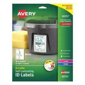 Avery Easy Align Self laminating Id Labels 00751 3 1 2 X 4 1 2 Pack Of 10