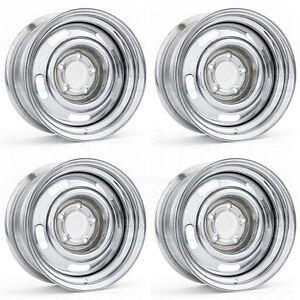 15x7 Vision 57 Rally 5x127 5x5 6 Chrome Wheel Rim Set 4