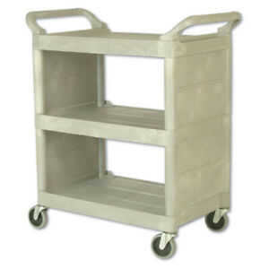 Rubbermaid Commercial 335588pla 300lbs cap 3 shelf Utility Cart Platinum New
