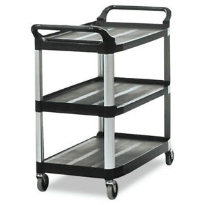 Rubbermaid Commercial 409100bla Open Sided 3 shelf Utility Cart Black New