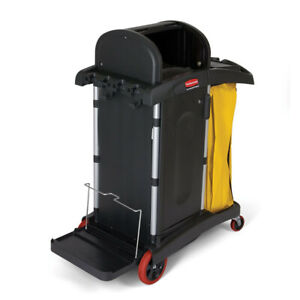 Rubbermaid Commercial 9t7500bk Hi security Healthcare Cleaning Cart Black New