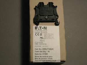 Eaton Xbut4bk Din Rail Mount Terminal Block Box Of 50 26 10 Awg
