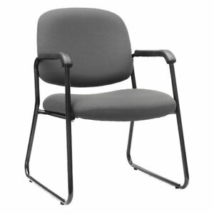 Office Guest Chair Non adjustable Gray W 24 3 8 H 33 5 8 D 22 7 8