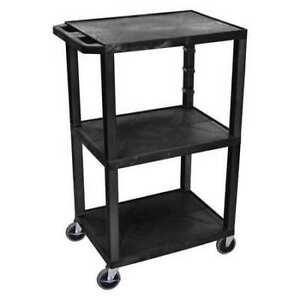 Zoro Select Wt42e Molded Plastic shelf Utility Cart 300 Lb Capacity 24 l X