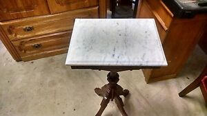 Early 1900 S Antique Wood Bible Stand With Marble Top