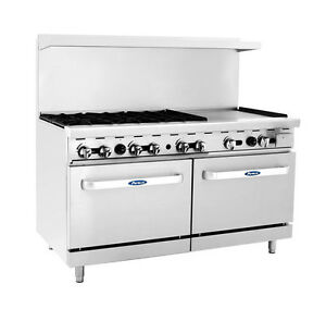 Atosa Cookrite Ato 6b24g 60 inch 6 Burners Heavy Duty Gas Range With 24 inch Ri
