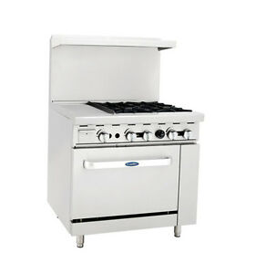 Atosa Cookrite Ato 12g4b 36 inch 4 Burner Heavy Duty Gas Range With 12 inch Lef